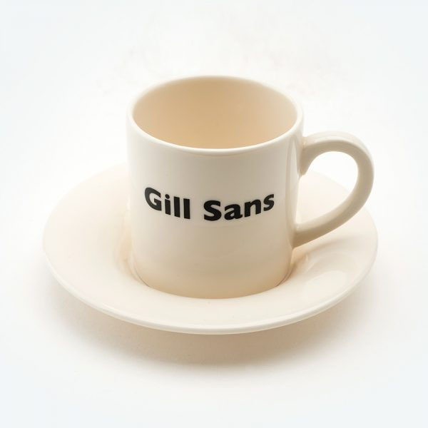 Gill sans espresso cup front