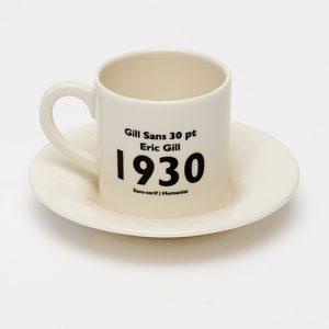 Gill sans espresso cup back