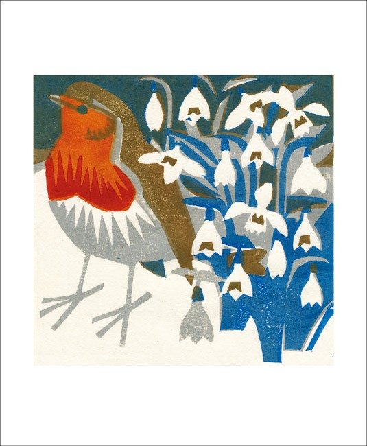 Robin and snowdrops card