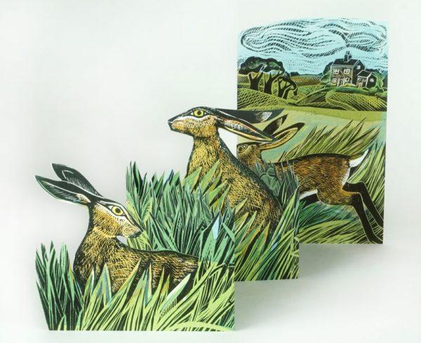 Hares in open field card 1